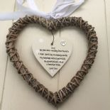 Shabby personalised Chic Gift For The Bride hanging Willow heart Wedding Present